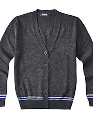 Men's Solid Casual Cardigan,Wool / Acrylic Long Sleeve Blue / Gray