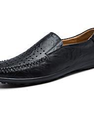 Herren-Flache Schuhe-Lässig-Leder-Flacher Absatz-Rundeschuh / Stile-Schwarz / Blau / Braun / Khaki