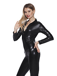 Women's Plus 3XL 4XL 5XL Size Fat PVC Leather Catsuit Zentai Fancy Dress