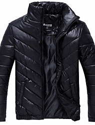 Men's Long Padded Coat,Polyester Solid Long Sleeve