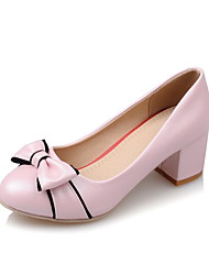 Women's Shoes PU Summer / Round Toe Heels Office & Career / Casual Chunky Heel Bowknot Black / Pink / White