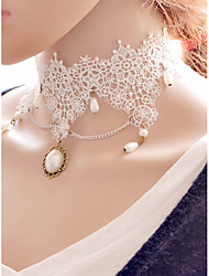 Necklace Pendant Necklaces Jewelry Wedding Fashion Lace White 1pc Gift