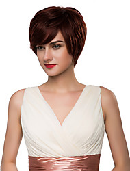 Graceful Natural Short Wavy Capless Remy Human Hair Hand Tied -Top Wigs for Woman