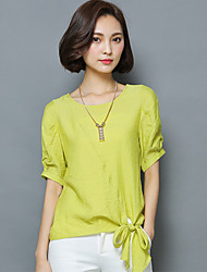 Women's Going out Simple / Boho Summer Blouse,Solid Round Neck ½ Length Sleeve Pink / White