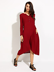 Women's Solid Red/Navy Blue Swing Dress , Casual/Plus Sizes Asymmetric Loose Fashion V Neck (Linen/Cotton)