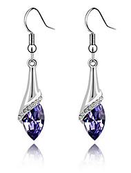 Super Bright Austrian Crystals Angel Eyes Teardrop-shaped Sterling Silver Amethyst Earrings