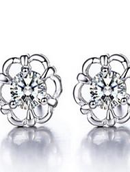 Women 925 Fine Silver Flower Stud Zircon Earrings for Wedding Party