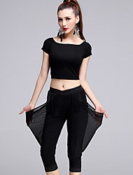 Latin Dance Outfits Women's Performance Tulle / Milk Fiber / Modal Tassel 2 Pieces Black Short Sleeve Top / Pant