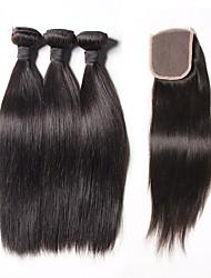 4 Peças Retas Tramas de cabelo humano Cabelo Brasileiro Tramas de cabelo humano Retas