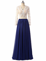 Formal Evening Dress A-line V-neck Floor-length Chiffon / Lace with Appliques / Buttons / Lace / Pearl Detailing