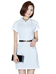 Women's Going out Street chic , Shirt Collar Above Knee Short Sleeve SummerShirt Dress
