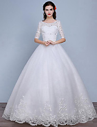 Princess Wedding Dress Floor-length Scoop Lace / Tulle with Lace