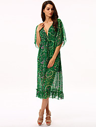 Women's Flare Sleeve Holiday Boho Loose/Chiffon/Swing Dress,Print Deep V Maxi Long Sleeve Green Polyester/Others Summer