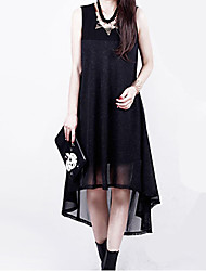 Women's Sexy Casual Plus Sizes Inelastic Sleeveless Asymmetrical Dress (Chiffon)