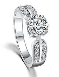 Fashion Zircon Crystal Couple Engagement Ring