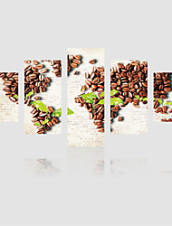 JAMMORY Canvas Set Landscape Modern,Five Panels Gallery Wrapped, Ready To Hang Vertical Print No Frame Coffee Beans