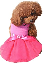Spring and Summer Lovely Mesh Wedding Dress with Bowknot for Pets Dogs Rose White Yellow Green Dog Skirts