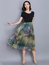 Women's Going out Sophisticated A Line Dress,Patchwork Round Neck Midi Short Sleeve Green / Purple Polyester Summer