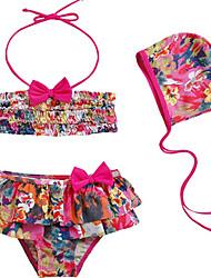 Bañador Chica de-Playa-Estampado-Nailon-Verano-Rojo