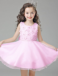 A-line Knee-length Flower Girl Dress - Satin Tulle Polyester Jewel with Flower(s) Pearl Detailing
