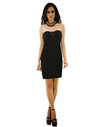 joannekitten® женская сексуальная без бретелек кружева плиссированные спинку платье