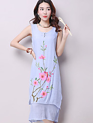 Women's Casual/Daily Chinoiserie Loose Dress,Floral Round Neck Midi Sleeveless Blue / White Linen Summer