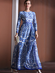 Boutique S Women's Going out Chinoiserie Loose DressGeometric Round Neck Maxi Long Sleeve Blue