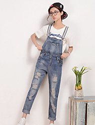 Sign new non-elastic loose denim overalls female students College Wind long pants