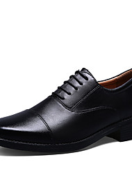 Men's Oxfords Fall Pointed Toe Leather Office & Career Low Heel Others Black Walking