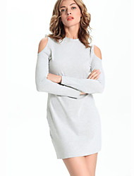 Women's Casual/Daily Sexy Bodycon Dress,Solid Stand Mini Long Sleeve Gray Polyester Fall / Winter