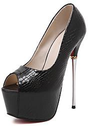 Damen-High Heels-Kleid-Glanz-StöckelabsatzSchwarz / Silber