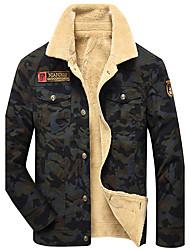 Men's Long Sleeve Casual / Work / Formal Jacket,Cotton Camouflage Black / Beige