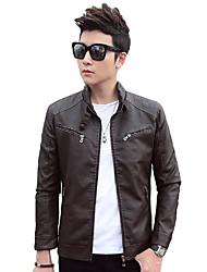 Men's Long Sleeve Casual / Work / Formal / Sport Jacket,PU Solid Black / Brown / Red