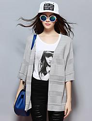 las mujeres Sybel de salir / / chaqueta de punto casual / chinesca diaria regular, sólido gris de cuello v ½ longitud de la manga rayonsummer