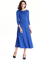 Women's Plus Size / Casual/Daily / Work Street chic Sheath Dress,Solid Round Neck Midi ¾ Sleeve with Belt