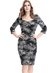 Women's Plus Size / Casual/Daily / Work Street chic Sheath Dress,Floral Square Neck Knee-length ¾ Sleeve