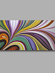 "Stretched (Ready to hang) Hand-Painted Oil Painting 40""x20"" Canvas Wall Art Modern Abstract Purple Blue"