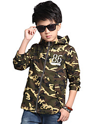 Boy's Cotton Spring/Autumn Fashion Patchwork Long Sleeve Cardigan Outerwear Sport Jacket Camouflage Coat