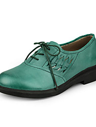 Women's Flats Spring Summer Fall Cowhide Casual Flat Heel Stitching Lace Khaki Dark Green Light Green