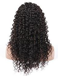 10-28 дюймов глубокая волна париков 100% фронт шнурка человеческих волос парики естественный черный цвет плотность 130%