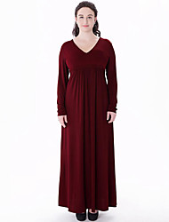 Women's Plus Size Boho Swing Dress,Solid V Neck Maxi / Knee-length Long Sleeve Red Polyester Fall