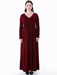 Balançoire Robe Femme Grandes Tailles Bohème,Couleur Pleine Col en V Maxi Mi-long Manches Longues Rouge Polyester Automne Taille Normale
