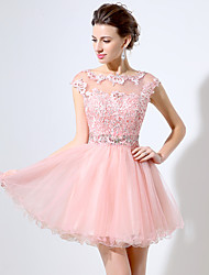 Cocktail Party Dress Ball Gown Jewel Short / Mini Lace / Organza with Appliques