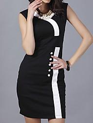 In Farbe Damen V-Ausschnitt Ärmellos Midi Kleid-1222