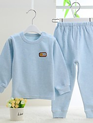 Baby Casual/Daily Solid Clothing Set-Cotton-Winter / Spring / Fall-Blue / Pink / White Set