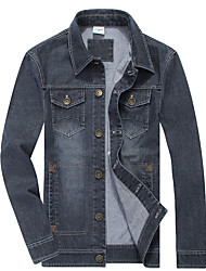 Men's Long Sleeve Casual / Work / Formal Jacket,Cotton Solid Blue / Gray