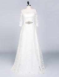 A-line Wedding Dress Sweep / Brush Train Bateau Lace / Satin with Appliques / Crystal / Sash / Ribbon