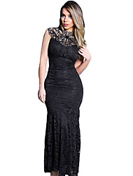 Women's Black Lace Sleeveless Long Mermaid Dress