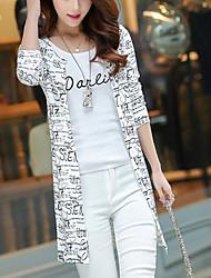 Long Cardigan Femme Sortie simple,Lettre Blanc Noir Asymétrique Manches Longues Coton Automne Moyen Micro-élastique