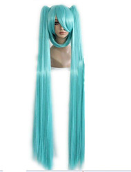 "Top Quality Green Queen Hair 130cm 51"" Miku Cos Split Wig Hatsune Miku with 2 Clip On Ponytail Cosplay Wig and Party Wig"
